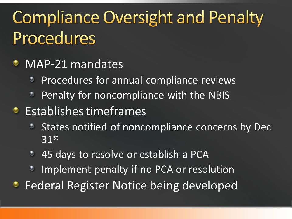 Compliance Oversight and Penalty Procedures