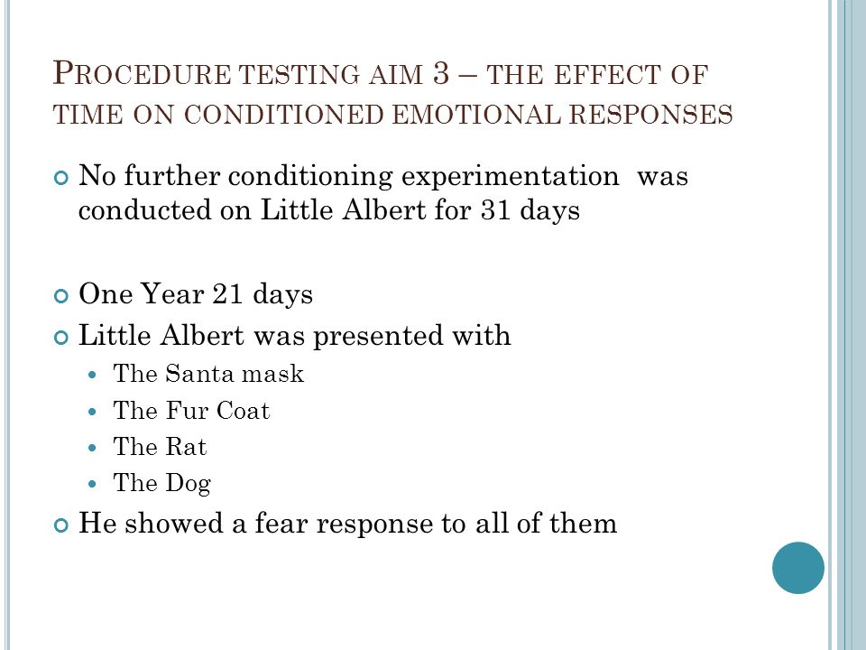Procedure testing aim 3 – the effect of time on conditioned emotional responses