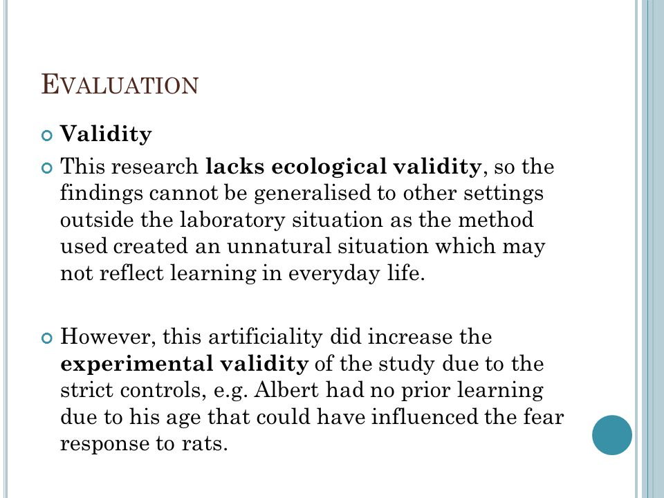 Evaluation Validity.