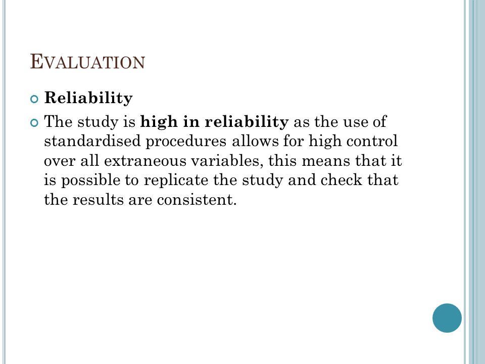 Evaluation Reliability