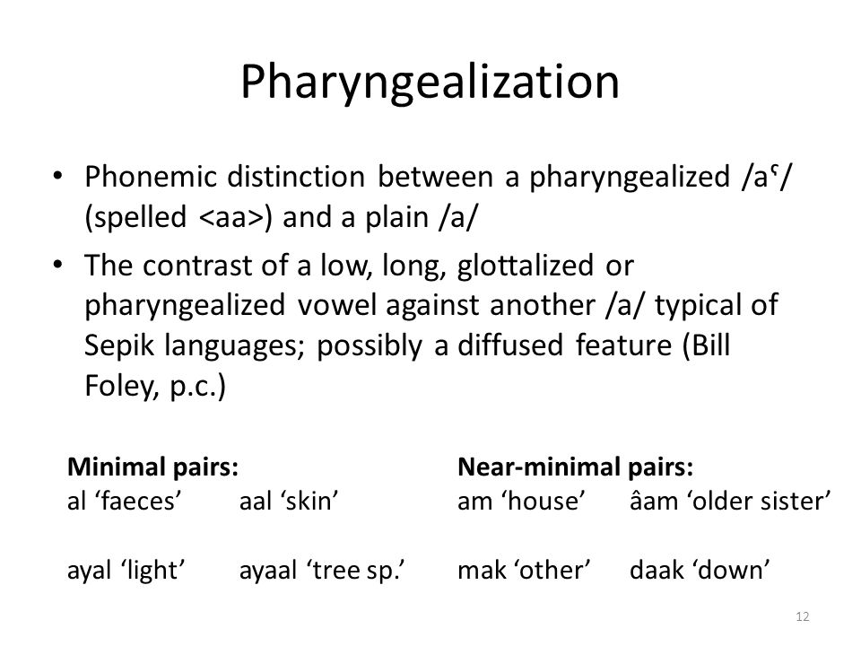 Pharyngealization Phonemic distinction between a pharyngealized /aˤ/ (spelled <aa>) and a plain /a/