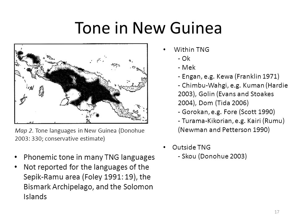 Tone in New Guinea Phonemic tone in many TNG languages