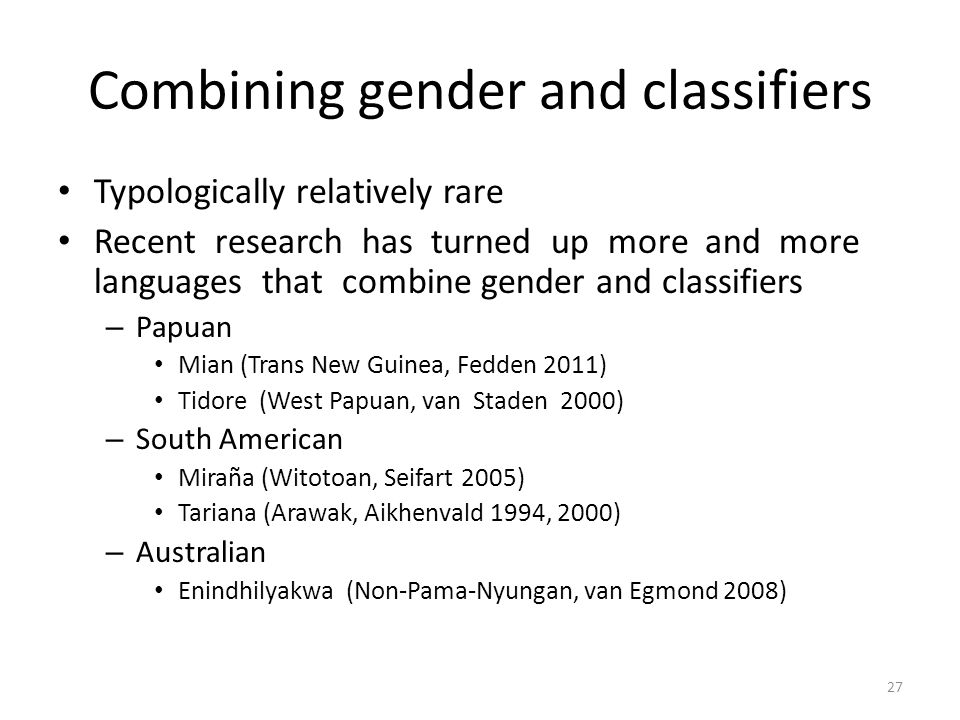 Combining gender and classifiers