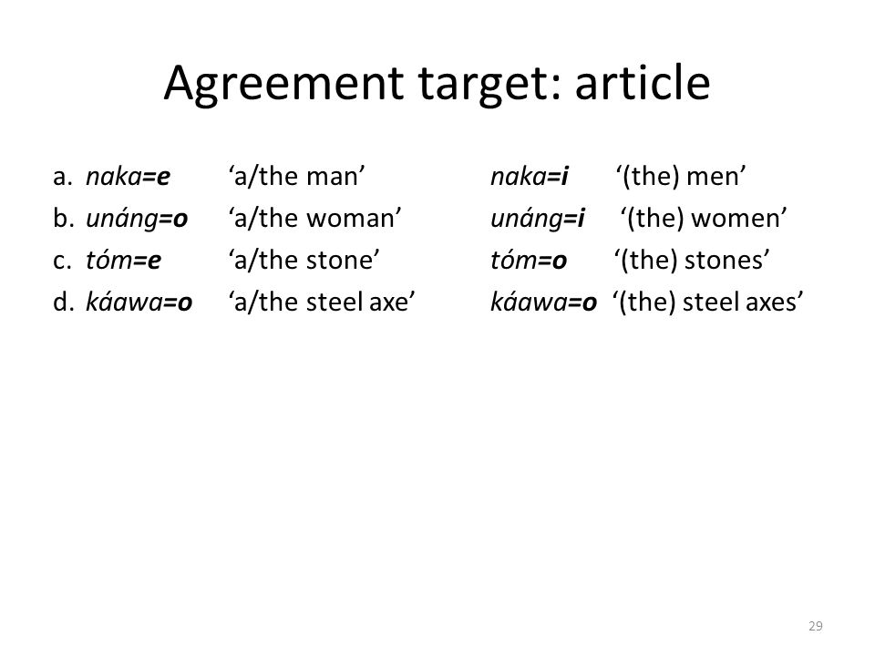 Agreement target: article