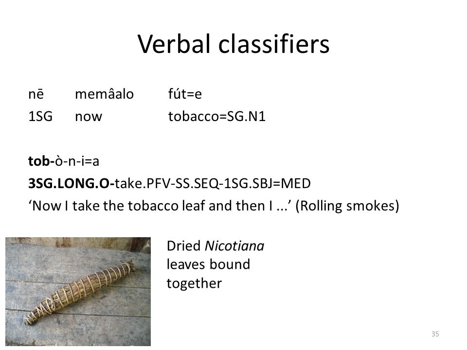 Verbal classifiers nē memâalo fút=e 1SG now tobacco=SG.N1 tob-ò-n-i=a