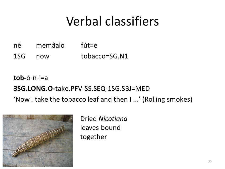 Verbal classifiers nē memâalo fút=e 1SG now tobacco=SG.N1 tob-ò-n-i=a