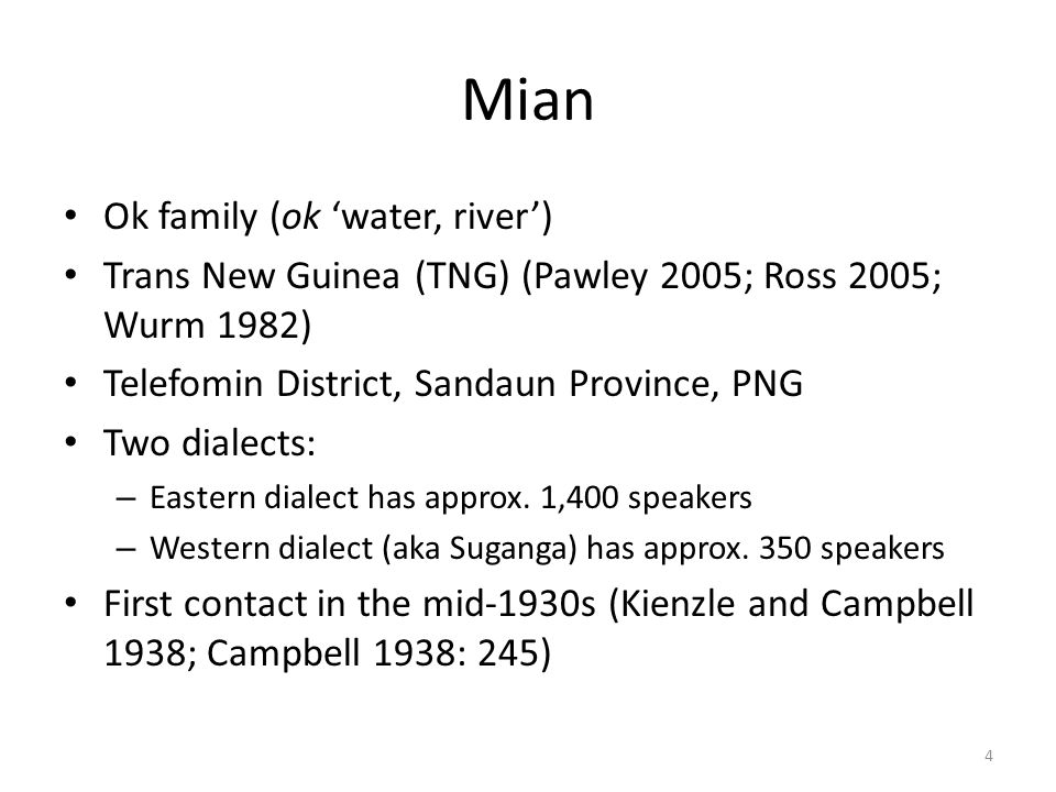 Mian Ok family (ok 'water, river')