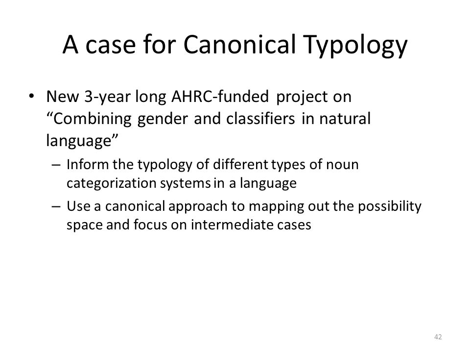 A case for Canonical Typology