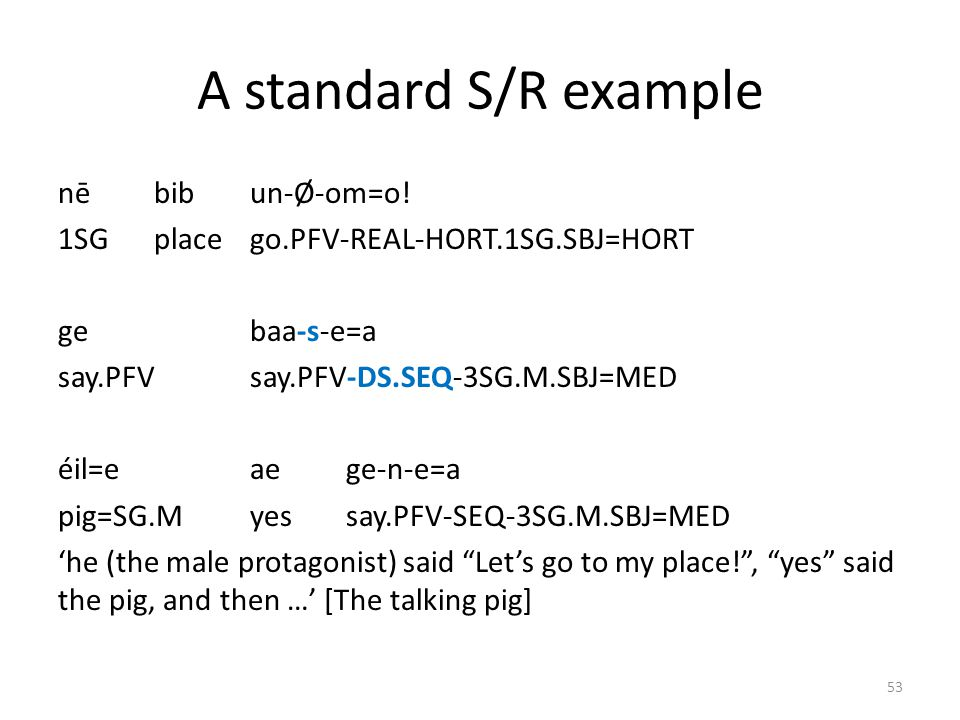 A standard S/R example