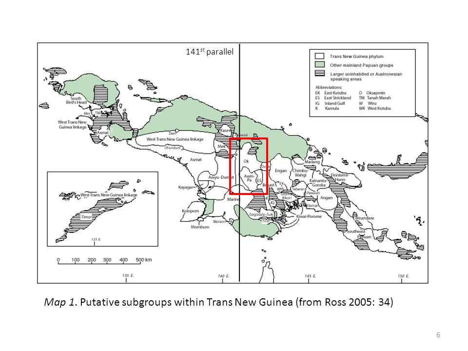 Map 1. Putative subgroups within Trans New Guinea (from Ross 2005: 34)