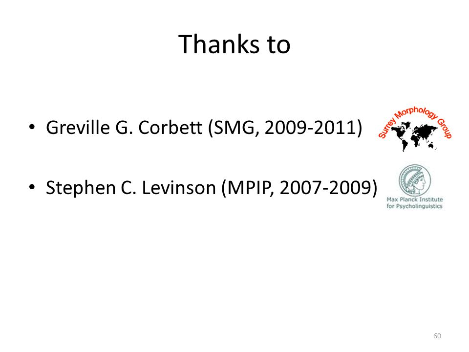Thanks to Greville G. Corbett (SMG, )