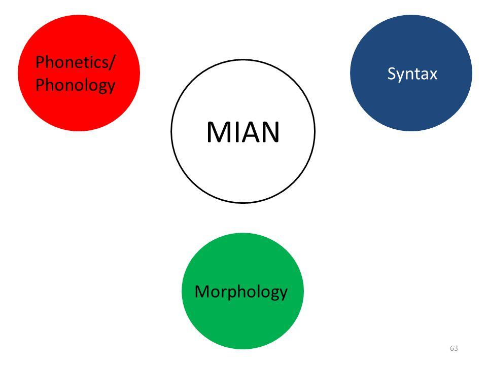 Phonetics/ Phonology Syntax MIAN Morphology