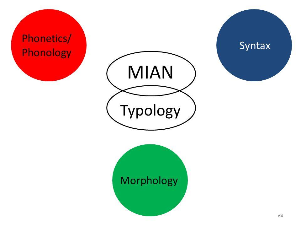 Phonetics/ Phonology Syntax MIAN Typology Morphology