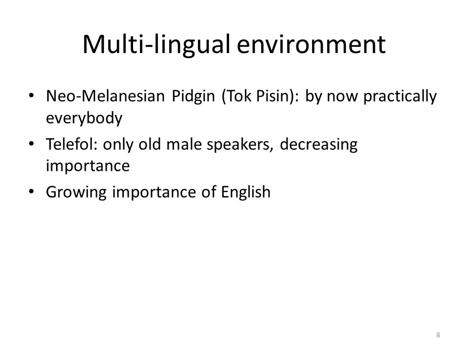 Multi-lingual environment