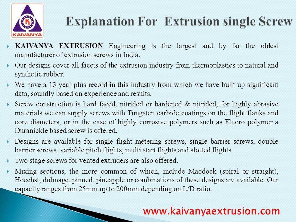 Explanation For Extrusion single Screw