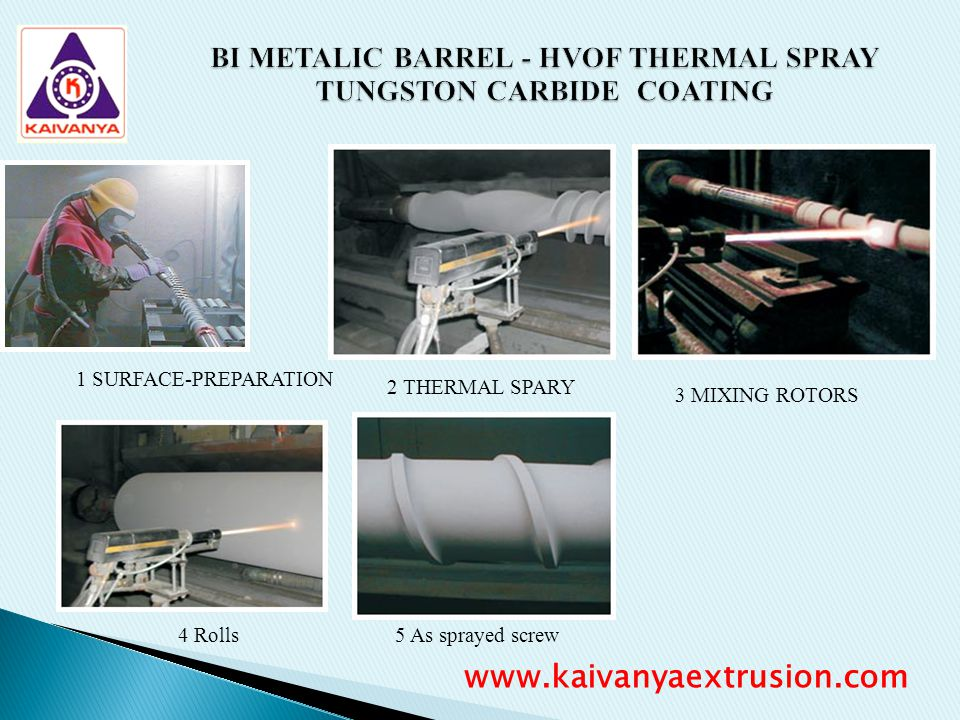 BI METALIC BARREL - HVOF THERMAL SPRAY TUNGSTON CARBIDE COATING