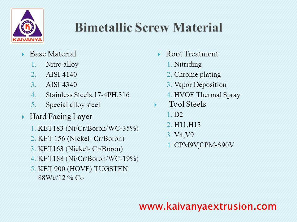 Bimetallic Screw Material