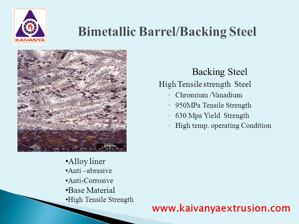 Bimetallic Barrel/Backing Steel