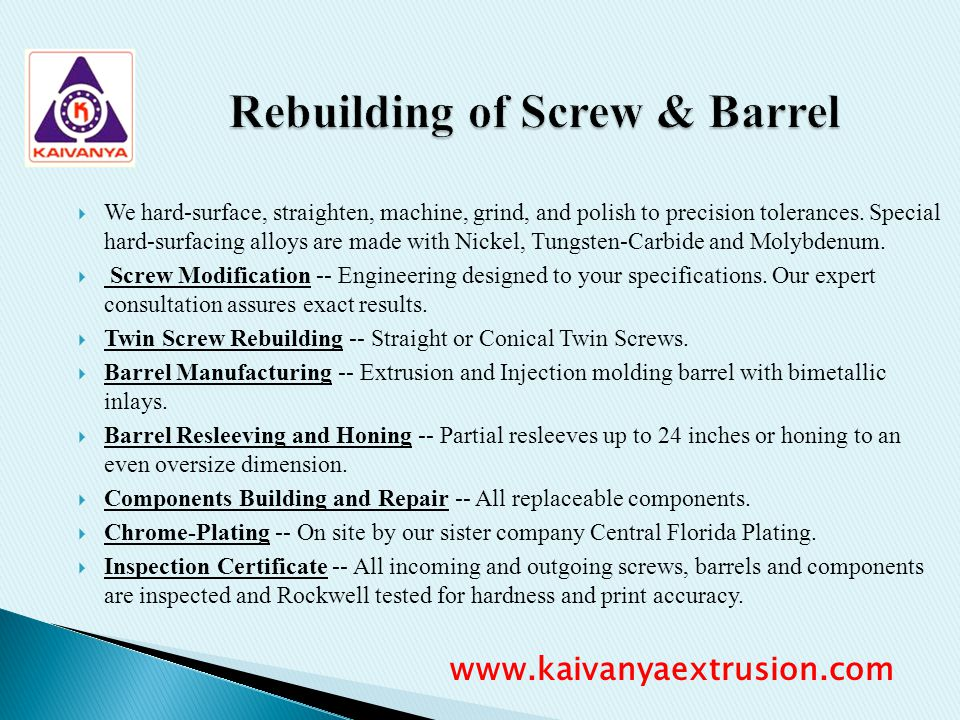Rebuilding of Screw & Barrel
