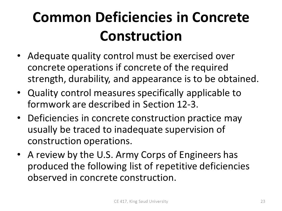 Common Deficiencies in Concrete Construction