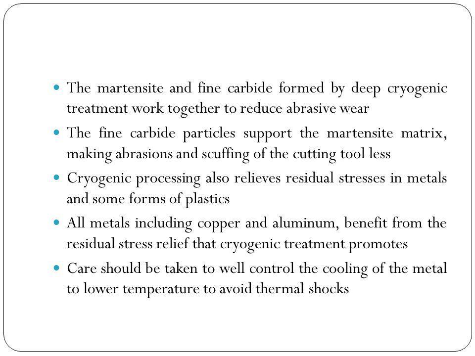 The martensite and fine carbide formed by deep cryogenic treatment work together to reduce abrasive wear
