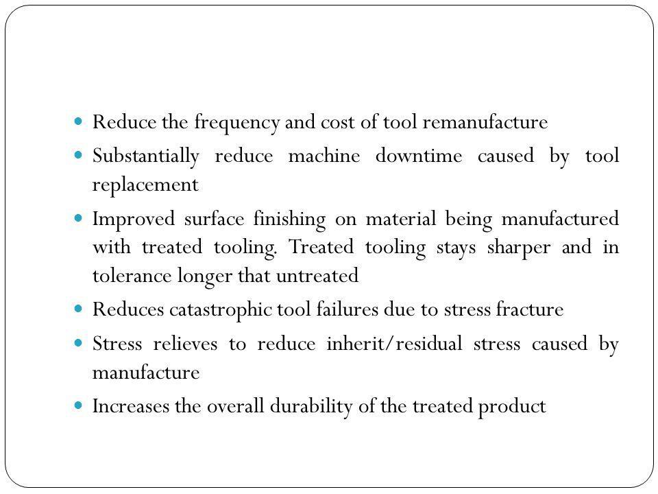 Reduce the frequency and cost of tool remanufacture