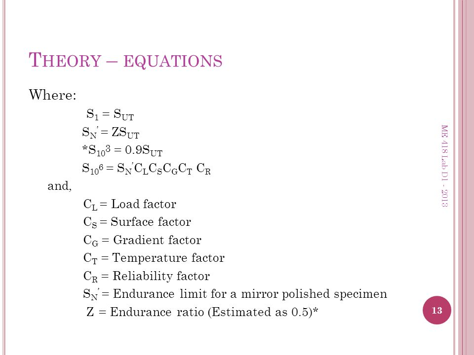 Theory – equations Where: S1 = SUT SN' = ZSUT *S103 = 0.9SUT