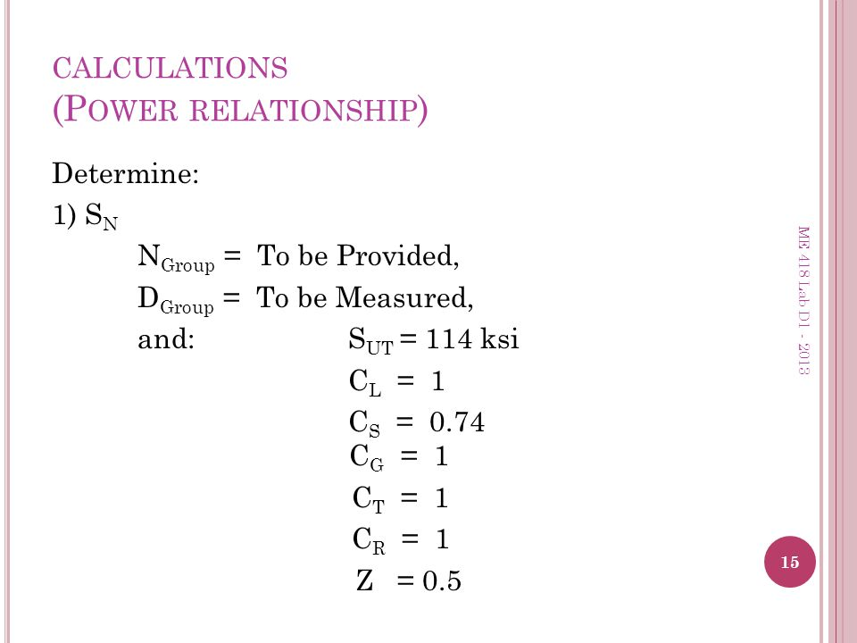 calculations (Power relationship)