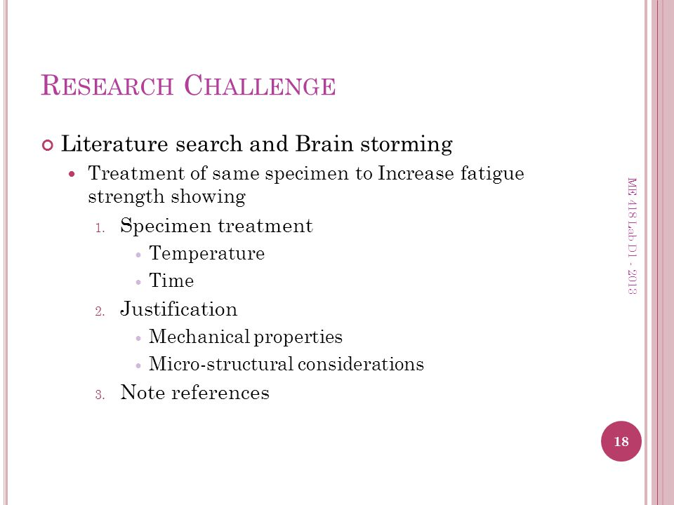 Research Challenge Literature search and Brain storming