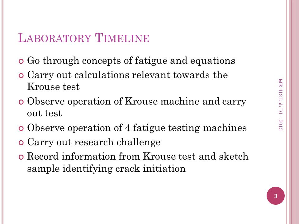 Laboratory Timeline Go through concepts of fatigue and equations