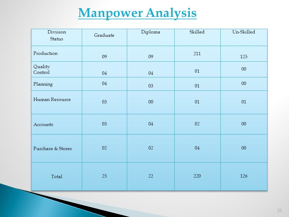 Manpower Analysis Division Status Graduate Diploma Skilled Un-Skilled
