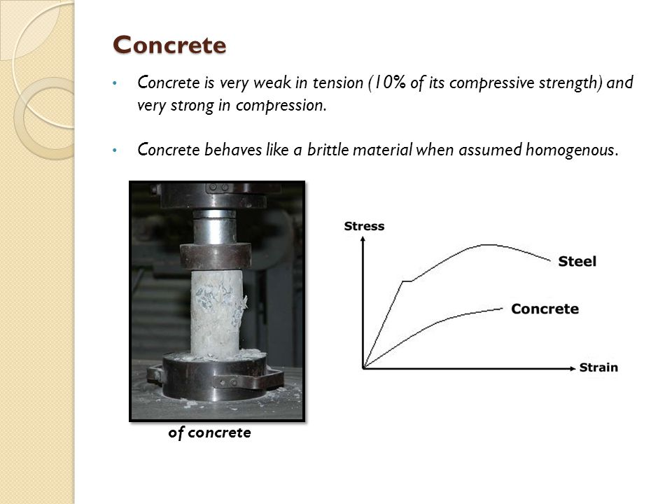 Concrete Concrete is very weak in tension (10% of its compressive strength) and very strong in compression.