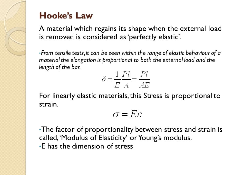 Hooke's Law A material which regains its shape when the external load is removed is considered as 'perfectly elastic'.
