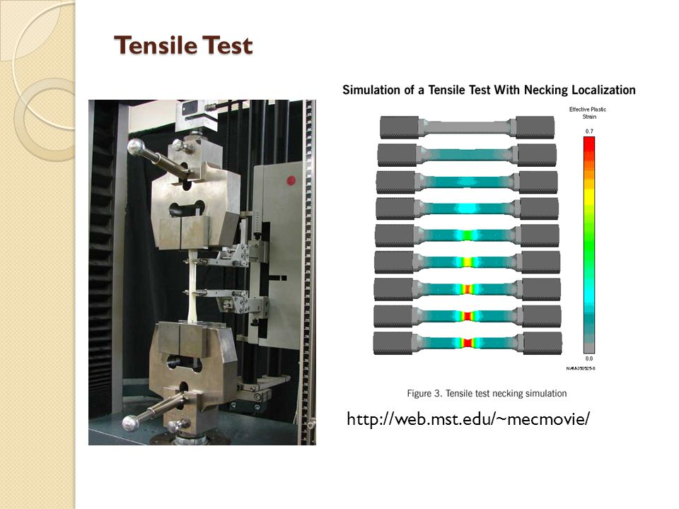 Tensile Test Check this link for tensile test movie: http://web.mst.edu/~mecmovie/