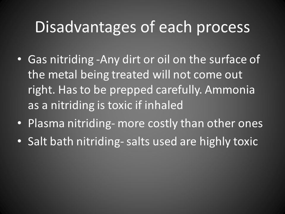 Disadvantages of each process