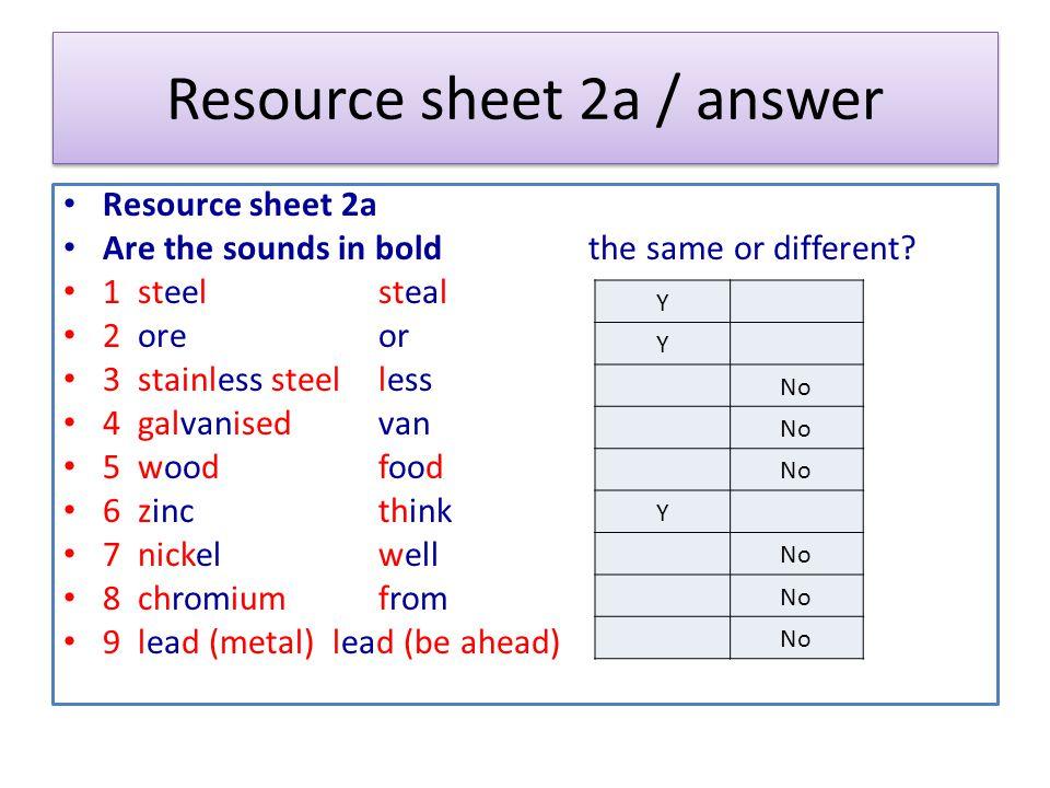 Resource sheet 2a / answer