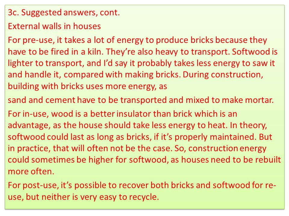 3c. Suggested answers, cont