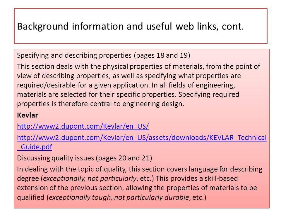 Background information and useful web links, cont.
