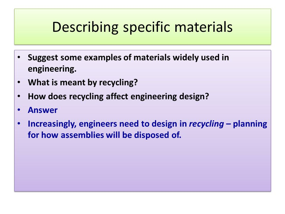 Describing specific materials