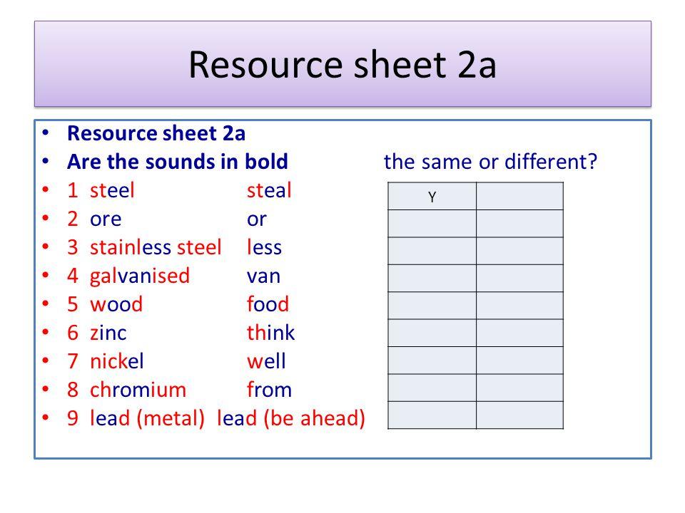 Resource sheet 2a Resource sheet 2a