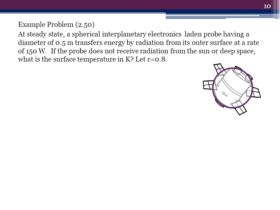 Example Problem (2.50) At steady state, a spherical interplanetary electronics laden probe having a diameter of 0.5 m transfers energy by radiation from its outer surface at a rate of 150 W.