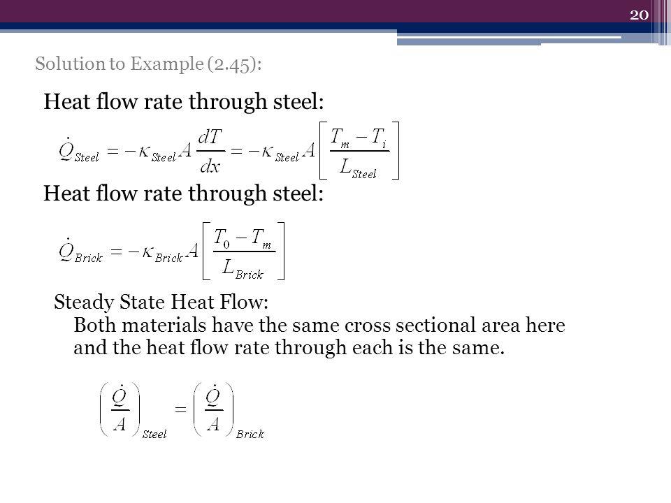 Heat flow rate through steel: