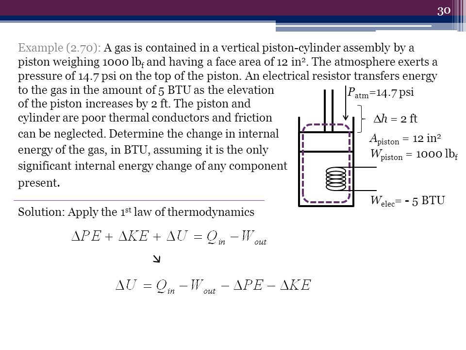 Example (2.70): A gas is contained in a vertical piston-cylinder assembly by a piston weighing 1000 lbf and having a face area of 12 in2. The atmosphere exerts a pressure of 14.7 psi on the top of the piston. An electrical resistor transfers energy to the gas in the amount of 5 BTU as the elevation of the piston increases by 2 ft. The piston and cylinder are poor thermal conductors and friction