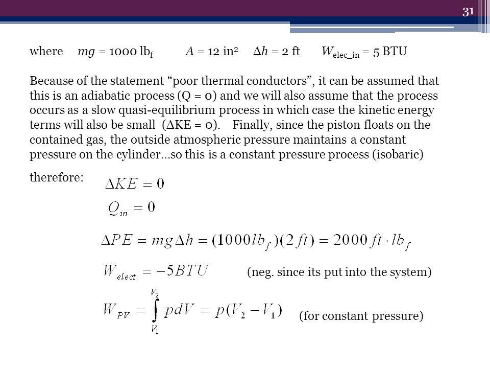 where mg = 1000 lbf A = 12 in2 Δh = 2 ft Welec_in = 5 BTU