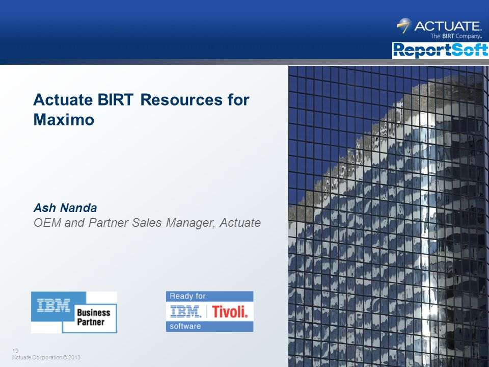 Actuate BIRT Resources for Maximo