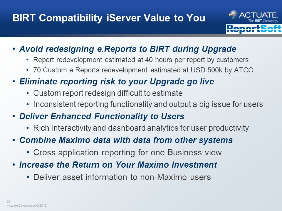 BIRT Compatibility iServer Value to You