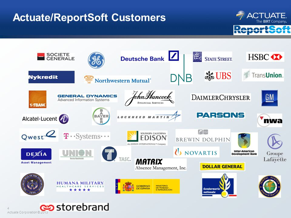 Actuate/ReportSoft Customers