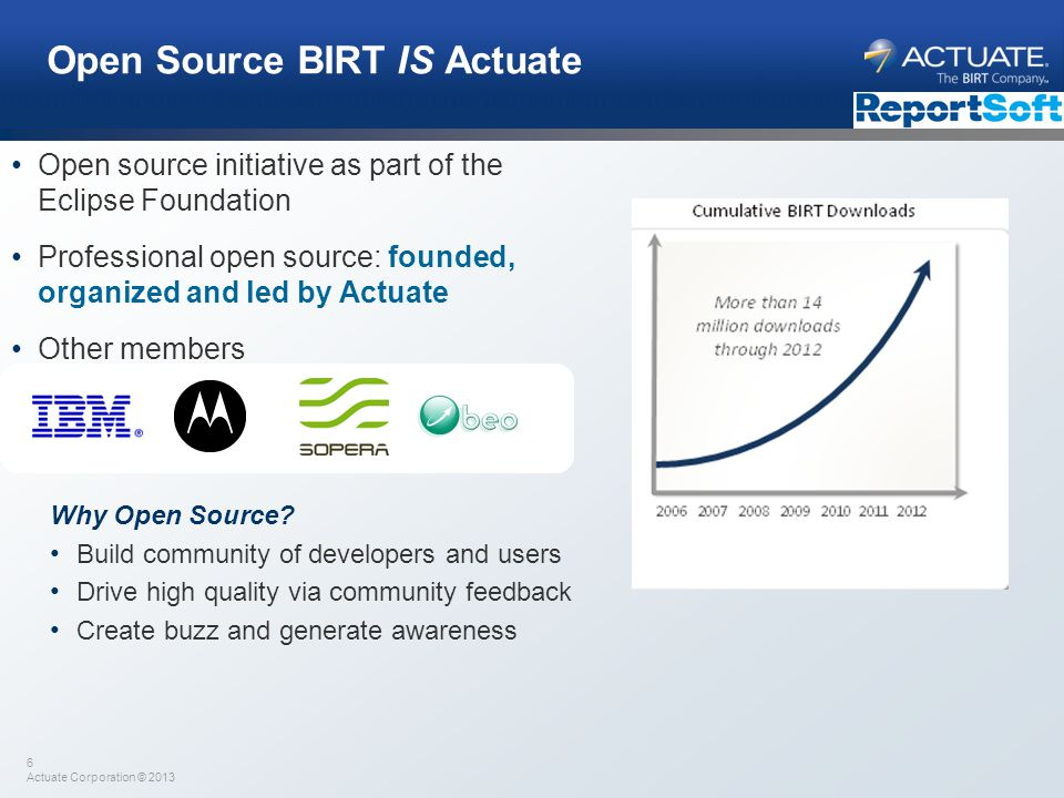 Open Source BIRT IS Actuate