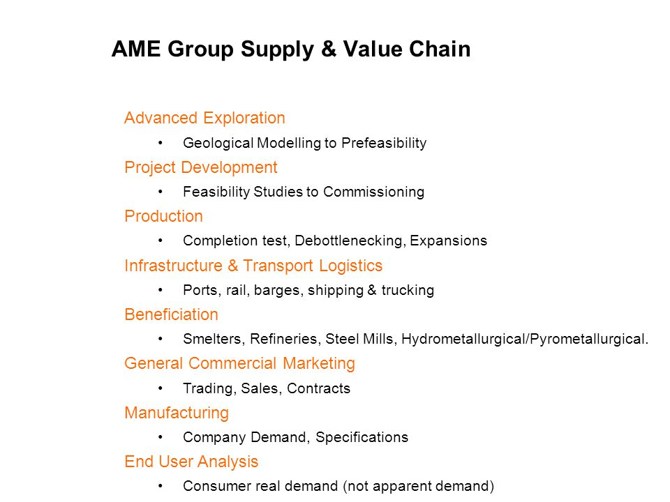 AME Group Supply & Value Chain