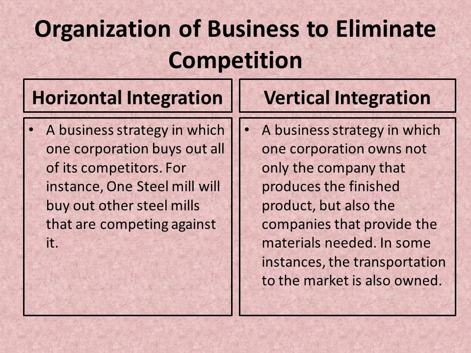 Organization of Business to Eliminate Competition